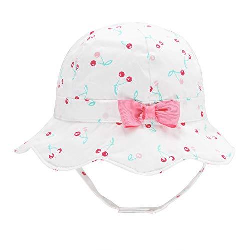 Baby Girl Floppy Sun Hat Bowknot Infant Toddler Summer Swim Cotton Print Bucket Cap UPF 50+ Sun Protection Cherry/White