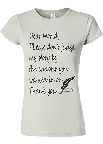 Please Do Not Judge My Story Novelty White Women T Shirt Top-L