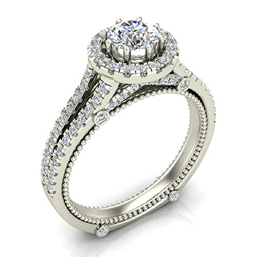 - 1.00 ct tw Vintage Look 14K White Gold Split Shank Diamond Engagement Ring (Ring Size 8.5)