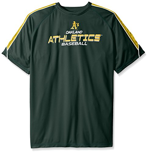 MLB Oakland Athletics Men's Short Sleeved Birdseye Crew T-Shirt with Shoulder Piecing & Chest Print, 2X/Tall, Dark Green – DiZiSports Store