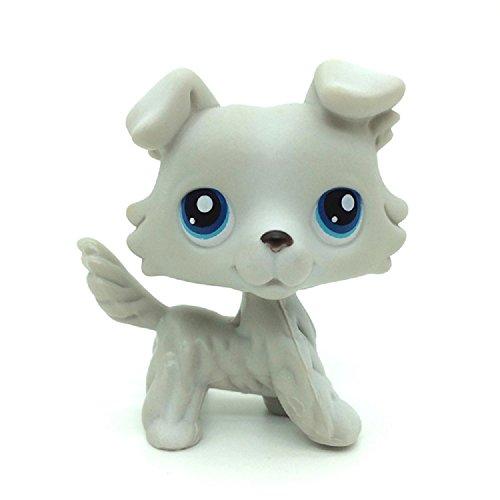 Littlest Pet Shop Figure Rare LPS #363 Grey Gray White Collie Dog Puppy