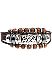 "Stylish Swirl Bead Leather Zen Bracelet, 5.5 to 8"" Adjustable Cuff Bracelet for Women, Teens and Girls in Gift Box"