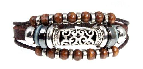 Stylish Swirl Bead Leather Zen Bracelet, 5.5 to 8