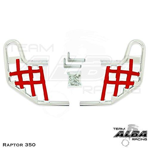 Nerf Bars Raptor 350 - Yamaha Raptor 350 YFM 350 (2004-2013) Standard Nerf Bars Silver w/Red Net