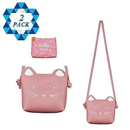 3c71a7e2b39 SOTOGO Little Girls Purses Pink Cute Cat Shoulder Crossbody Bag with 1 Pink  Coin Purse for Kids,Toddler,Girls