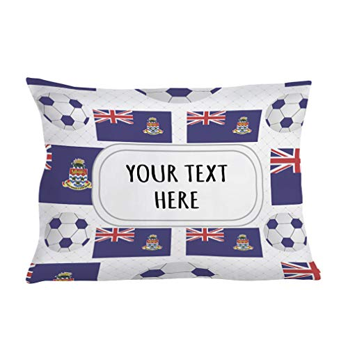 (Style In Print Personalized Pillow Case Cayman Islands Flag Soccer Polyester Pillow Cover 20INx28IN Custom Text Here Set of 2)
