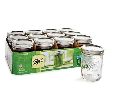 Ball Wide Mouth Pint 16 Oz. Glass Mason Jars with Lids and Bands, 12 Count (4 Pack)