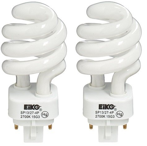 EiKO SP13/27-4P Model Compact Fluorescent Light Bulb (2-Pack), 13 Watts, G24q-1 Base, T-4 Bulb, 3.74