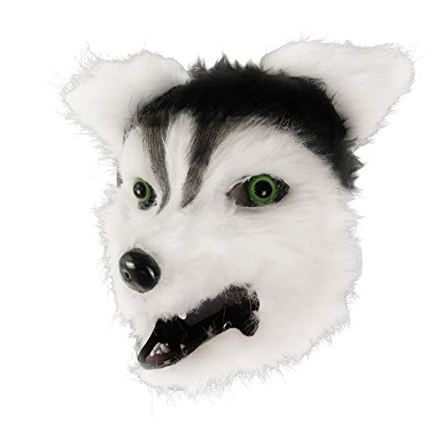 molezu Movable Mouth Husky Mask, Costume Cosplay Mouth Mover Wolf Masks, Plush Faux Fur Suit for Halloween Party (Grey)