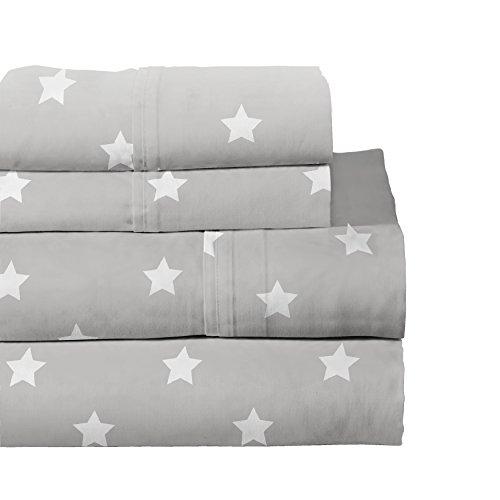 Lullaby Bedding Space Full Cotton Printed Sheet Set, (Printed Star)