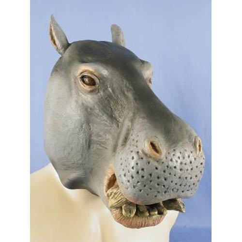 HMS Jumbo Hippo Animal Mask, Grey, One -