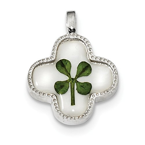 (925 Sterling Silver Platinum Plated Real Clover Epoxy Sea Shell Mermaid Nautical Jewelry Pendant Charm Necklace Good Luck Italian Horn Fine Jewelry Gifts For Women For Her)