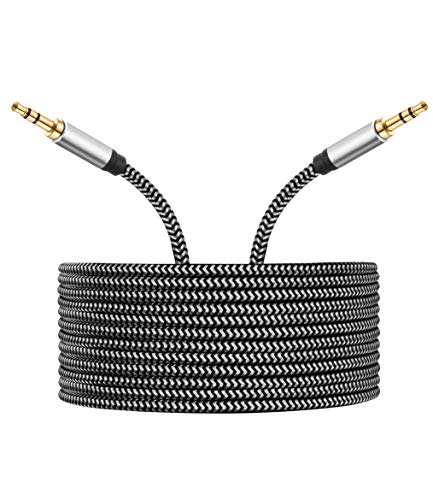 Morelecs AUX Cord 3.5mm Auxiliary Audio Cable AUX Cable 30ft Nylon Braided Male to Male 3.5mm Audio Cable Compatible for Headphones, iPods, iPhones, iPads, Home/Car Stereos and More