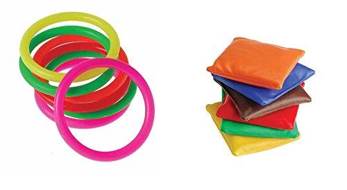 Clown Bean Bag Toss - Bean Bag Carnival Rings Toy Party Favor Supplies 24 Piece Set for 12