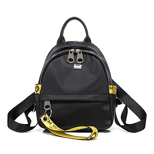 Mochila de moda coreana todo coinciden estudiantes contratados Oxford package negra y amarilla. Yellow small black