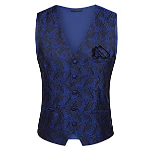 PAUL JONES Mens Gothic Steampunk Vest Waistcoat Victorian Jacquard Tailcoat