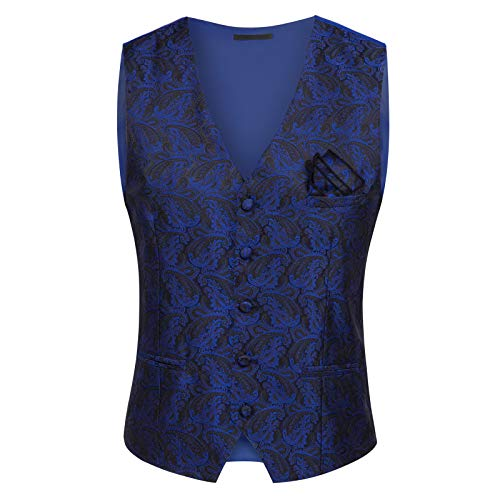 PAUL JONES Mens Gothic Steampunk Vest Waistcoat Jacquard Tailcoat