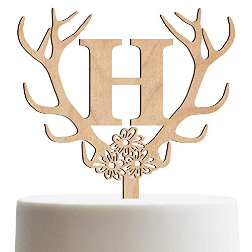 Personalized Cake Topper For Wedding, Engagement, Birthday, Sweet 16 Customized Cake Topper Antler Initial | Wooden Cake Toppers ()