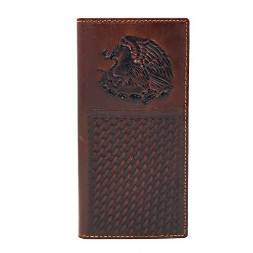Men's Genuine Leather Wallet Long Bifold Western Wallet for Men Father Husband Boyfriend Gift Eagle Tooling ()