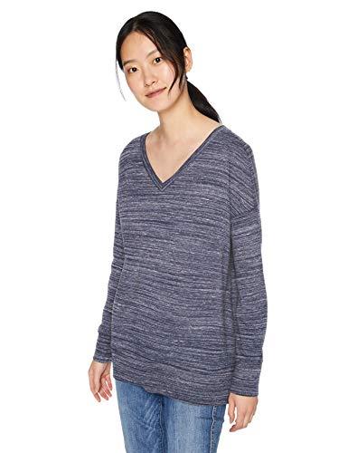 (Daily Ritual Women's  Terry Cotton and Modal V-Neck Drop-Shoulder Sweatshirt, Navy Space Dye,)