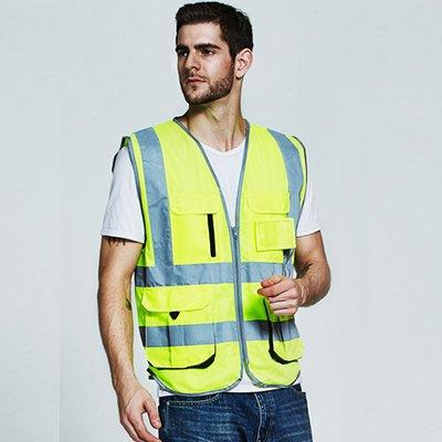 Sfvest Mens Cargo Vest Multi Pockets Safety Vest Khaki Vest Reflective Jacket Logo Printing Free Shipping Security & Protection