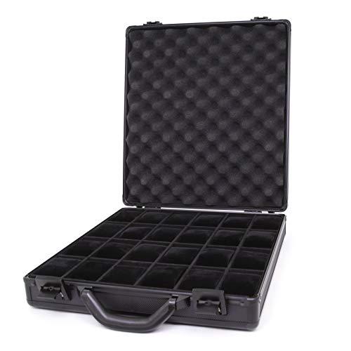 Watch Case Black Aluminum Briefcase Design for 24 Large Watches (Black-tex)