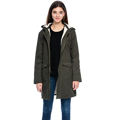 Lacle Women Winter Long Sleeve Hooded Classic Cotton Coat with pocket(Olive Green, Large) (Cotton Coat)