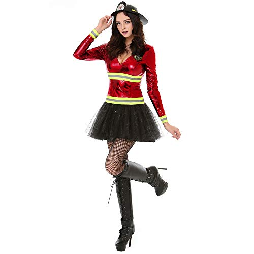 Boo! Inc. Women's Hot Stuff Firefighter Halloween Costume | Adult (Medium)]()