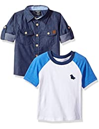 Boys' Long Sleeve Woven Shirt and T-Shirt Set (More Styles)