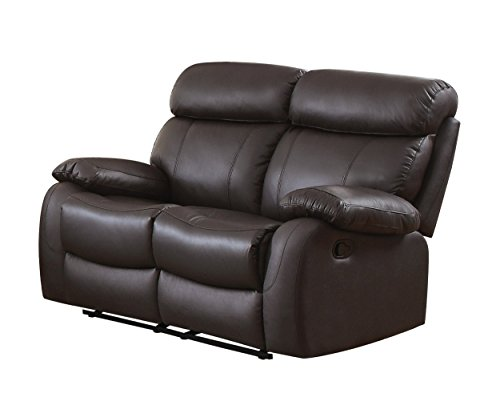 Homelegance 8326BRW-2 Pendu Reclining Loveseat Top Grain Leather Match, Brown ()