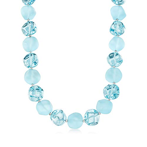Ross-Simons Italian Aqua Blue Murano Glass Bead Necklace With Sterling Silver