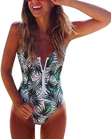 Verano Bikinis Mujer 2019 Bikini Brasileño Trikinis Push Up con Relleno Tankinis Baño Ropa De Playa Monokini Sexy, Bañador Estampada, Trajes De Baño Cremallera, Tallas Grandes Traje De Baño Verde