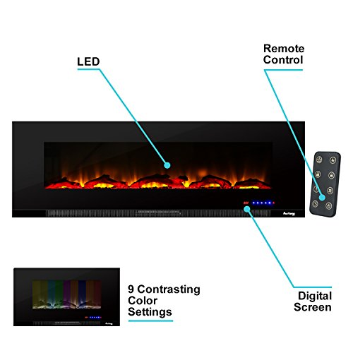 e-Flame USA Livingston Mount Electric Fireplace Wide Ultra-Slim Featuring a Digital Realistic Brightly Fire and