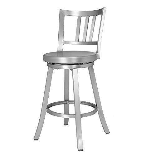 Renovoo Aluminum Swivel Counter Stool, Commercial Quality, Brushed Aluminum Finish, 24 Inch Seat Height, Indoor Outdoor Use, 1 Pack