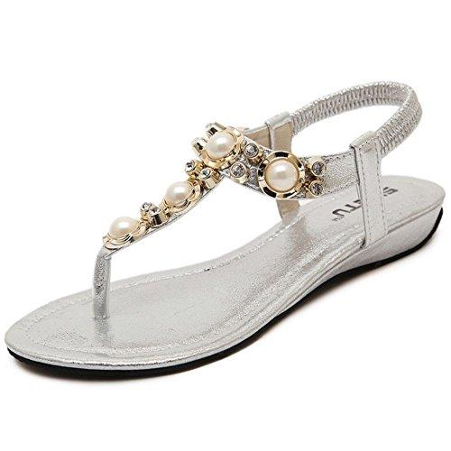 COOLCEPT Mujer Moda Correa de Tobillo Correa Plano Slingback Zapatos Plata