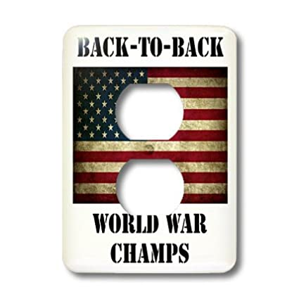 3dRose Lsp/_123038/_6 Back to Back World War Champs  America  American Flag 2 Plug Outlet Cover