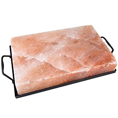 "Zenware 12"" x 8"" x 2"" Natural Himalayan Block Cooking Salt Plate & Holder Set - Black by Zenware"