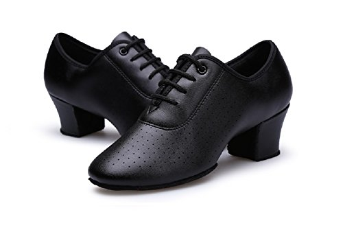 Gogodance Women Girls Professional Lace-up Black Leather Latin Salsa Tango Ballroom Modern Dance Shoes (7.5US/39)