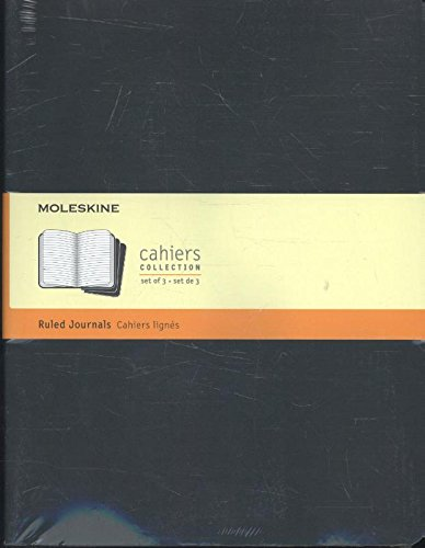 Moleskine Cahier Journal (Set of 3), Extra Large, Ruled, Black, Soft Cover (7.5 x 10)