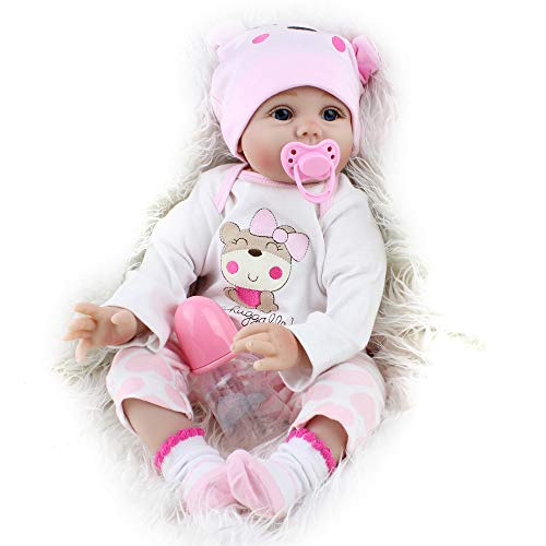 (CHAREX Reborn Baby Dolls Lucy, 22 inch Newborn Girl Doll, Lifelike Soft Silicone Vinyl Weighted Gift Set)