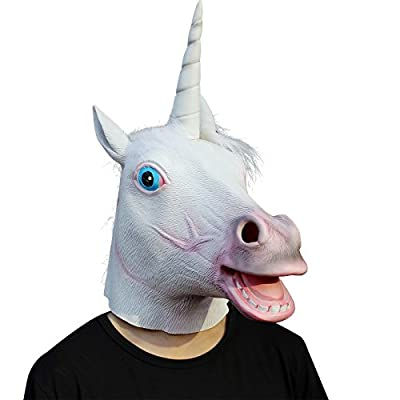 CreepyParty Deluxe Novelty Halloween Costume Party Latex Animal Head Mask, Unicorn by Seaton