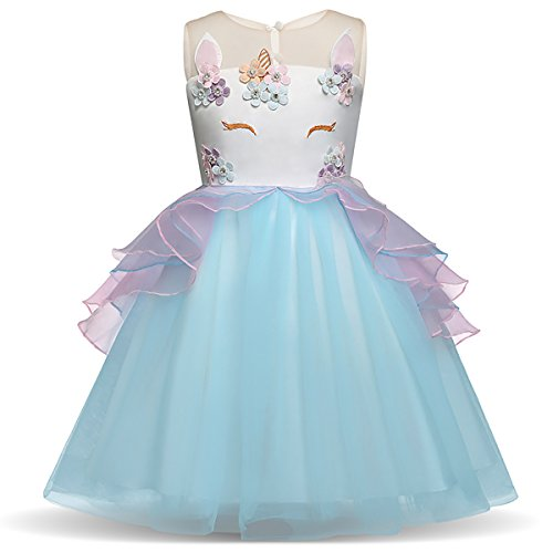 Little.Elf Unicorn Costume Dress Pageant Party Dresses Flower Evening Gowns -