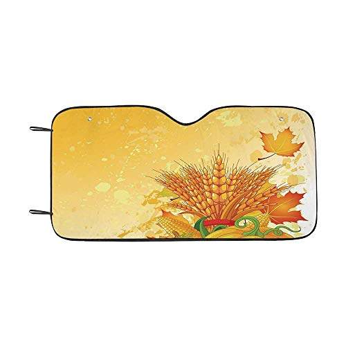- Harvest Durable Car Sunshade,Vivid Festive Collection of Vegetables Plump Pumpkins Wheat Fall Leaves Decorative for car,55