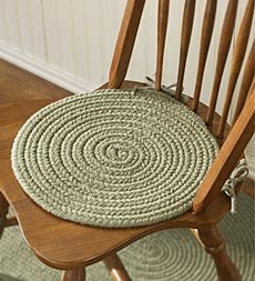 Wool Blend Braided Chair Pad Red Home Kitchen