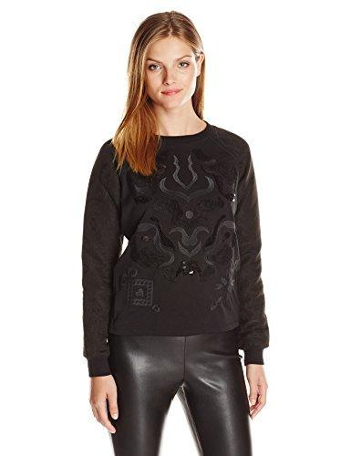 Desigual Women's Sweater Flowers, Black, Small