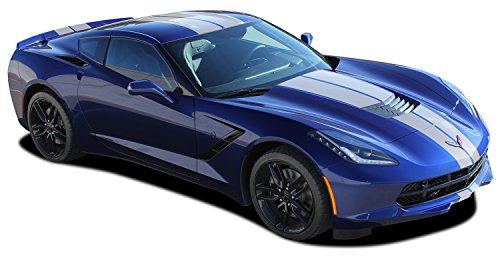 MoProAuto Pro Design Series C7 Rally : 2014-2019 Chevy Corvette Factory Style Racing Stripes Rally Hood Bumper to Bumper Vinyl Graphic 3M Decal Kit (FITS All Coupe Models) (Color-3M 02 Gloss Black)
