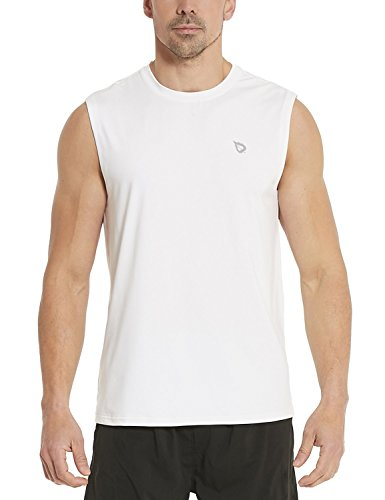 Baleaf Men's Performance Quick-Dry Muscle Sleeveless Shirt Tank Top White Size XXL