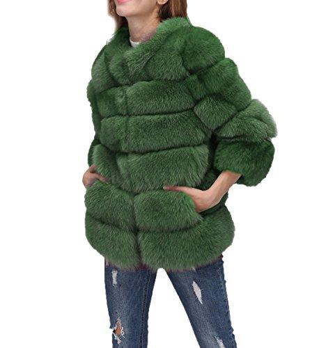 Vest Folobe Cappotto Di Pelliccia Stile Green Faux ' Lungo Caldo Inverno Womens wIXq1Xr8