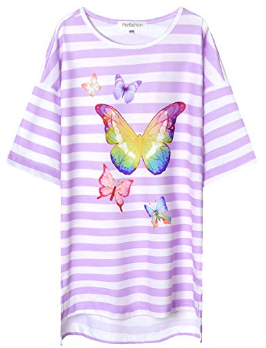 Perfashion Little Girls' Purple Butterflies Nightgown Soft Sleepwear Cotton Cute Pajama]()