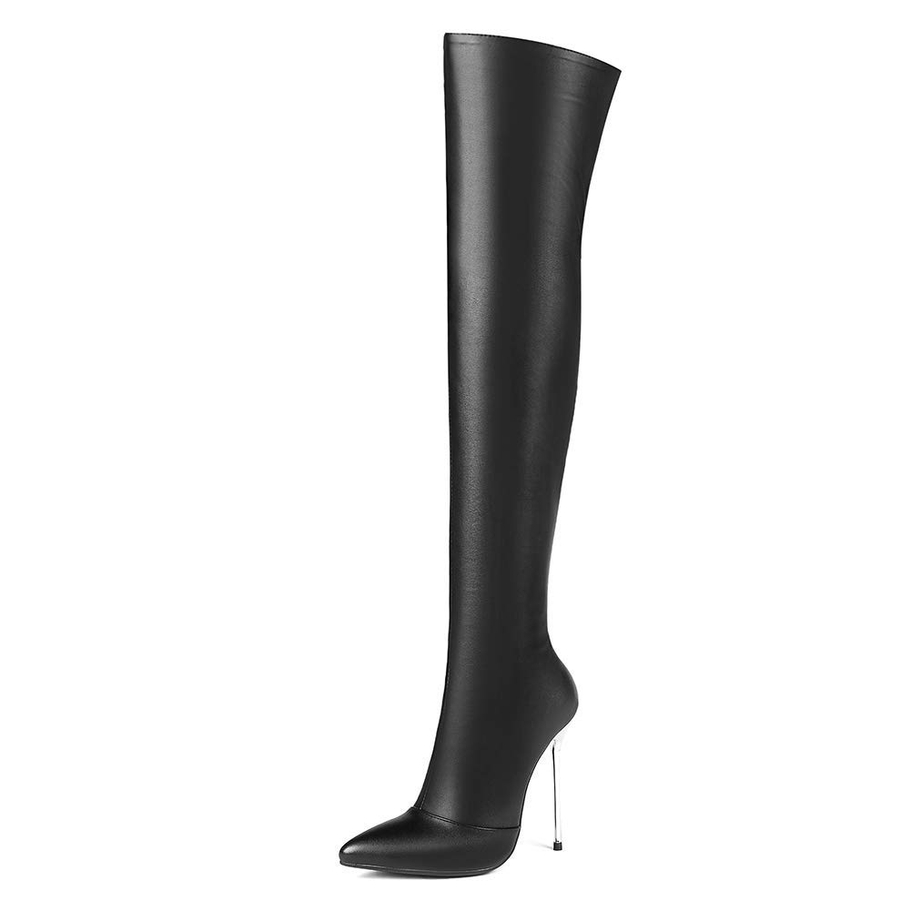 Black Without Fur Women Female Party Winter Fashion shoes Zipper Thigh High Boot Thin High Heel Women Over The Knee Boots